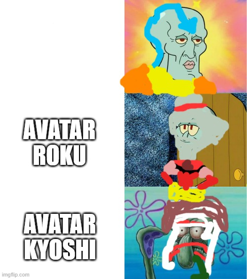 handsome and ugly squidward (extended version) |  AVATAR ROKU; AVATAR KYOSHI | image tagged in handsome and ugly squidward extended version | made w/ Imgflip meme maker