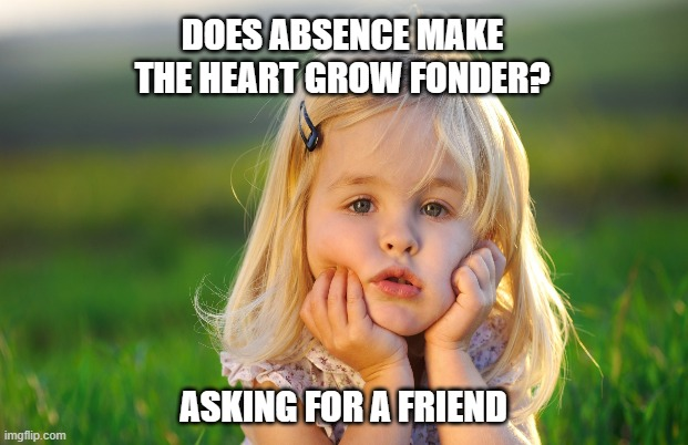 Fonder Heart |  DOES ABSENCE MAKE THE HEART GROW FONDER? ASKING FOR A FRIEND | image tagged in heart,friend | made w/ Imgflip meme maker