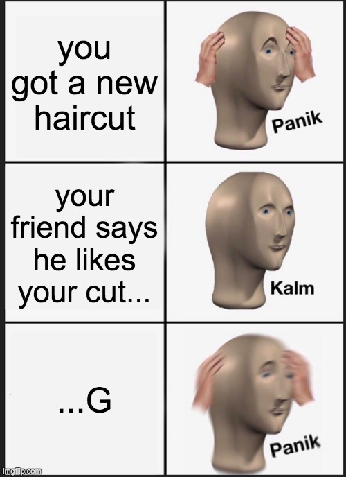 you playing a good minecraft! |  you got a new haircut; your friend says he likes your cut... ...G | image tagged in memes,panik kalm panik,i like ya cut g | made w/ Imgflip meme maker