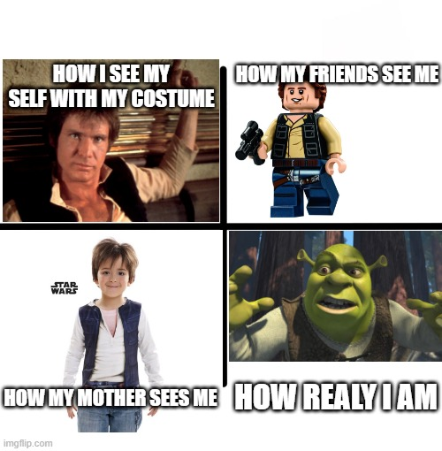 My costume |  HOW MY FRIENDS SEE ME; HOW I SEE MY SELF WITH MY COSTUME; HOW REALY I AM; HOW MY MOTHER SEES ME | image tagged in memes,blank starter pack,han solo,views | made w/ Imgflip meme maker