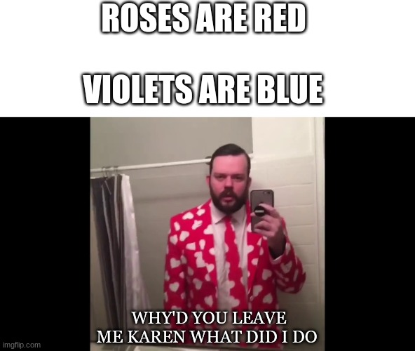 ROSES ARE RED; VIOLETS ARE BLUE; WHY'D YOU LEAVE ME KAREN WHAT DID I DO | image tagged in memes | made w/ Imgflip meme maker