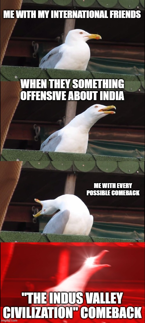 "Inhaling Seagull Meme |  ME WITH MY INTERNATIONAL FRIENDS; WHEN THEY SOMETHING OFFENSIVE ABOUT INDIA; ME WITH EVERY POSSIBLE COMEBACK; ""THE INDUS VALLEY CIVILIZATION"" COMEBACK 