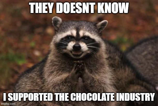 Evil racoon |  THEY DOESNT KNOW; I SUPPORTED THE CHOCOLATE INDUSTRY | image tagged in evil racoon | made w/ Imgflip meme maker