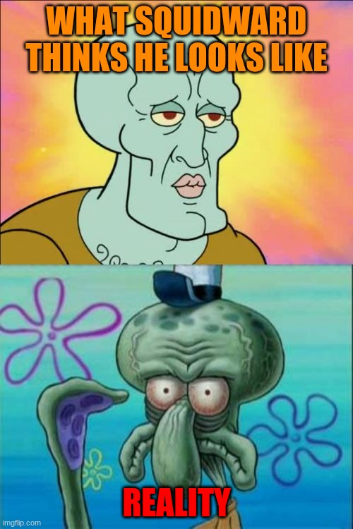 SQUIDWARD |  WHAT SQUIDWARD THINKS HE LOOKS LIKE; REALITY | image tagged in memes,squidward | made w/ Imgflip meme maker