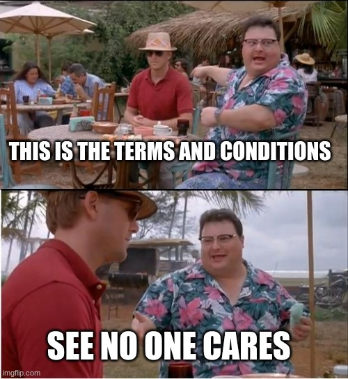 See Nobody Cares Meme |  THIS IS THE TERMS AND CONDITIONS; SEE NO ONE CARES | image tagged in memes,see nobody cares | made w/ Imgflip meme maker