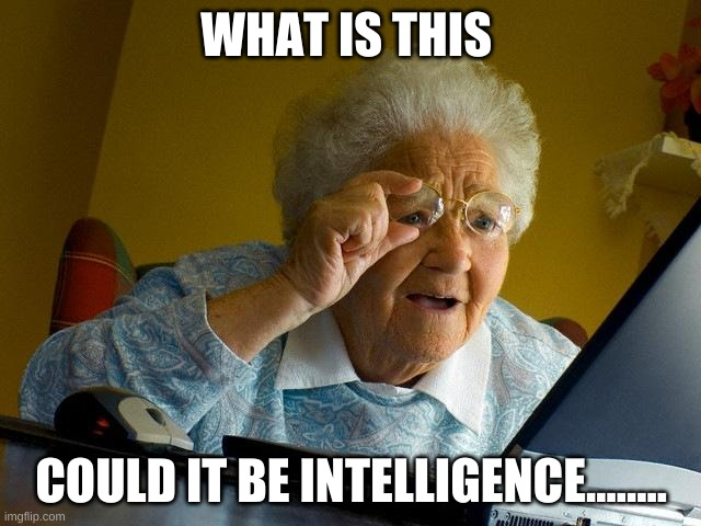 Grandma Finds The Internet Meme |  WHAT IS THIS; COULD IT BE INTELLIGENCE........ | image tagged in memes,grandma finds the internet | made w/ Imgflip meme maker
