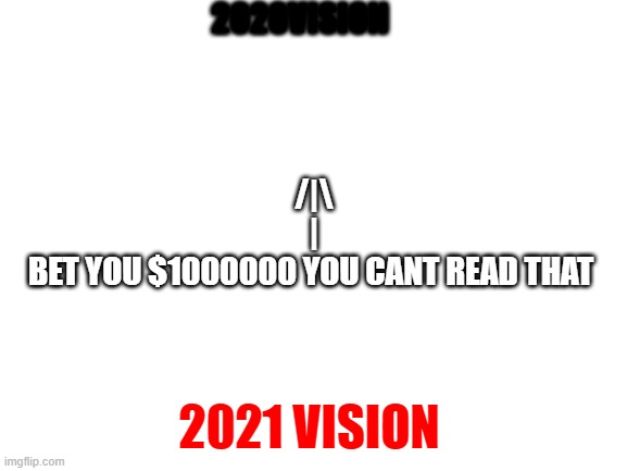 Blank White Template |  2020VISION; /|\ | BET YOU $1000000 YOU CANT READ THAT; 2021 VISION | image tagged in blank white template | made w/ Imgflip meme maker