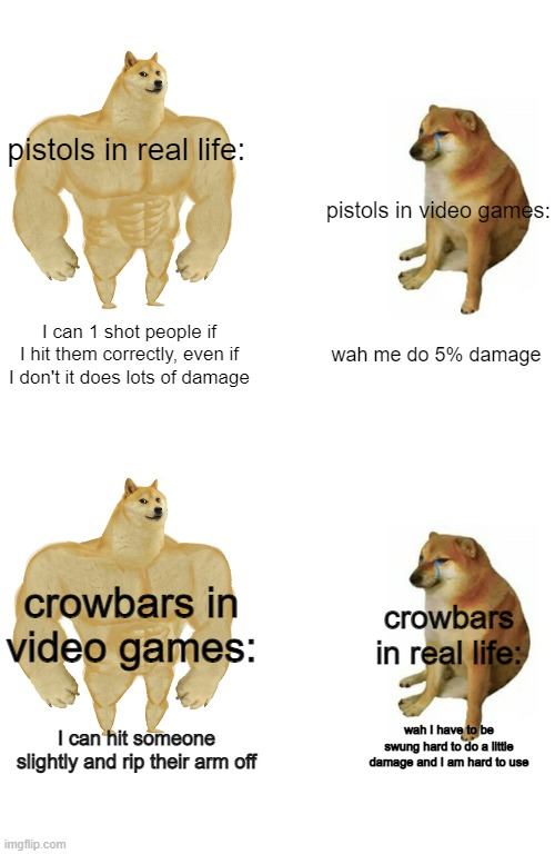 Real life V.S Video Games |  pistols in real life:; pistols in video games:; I can 1 shot people if I hit them correctly, even if I don't it does lots of damage; wah me do 5% damage; crowbars in video games:; crowbars in real life:; wah I have to be swung hard to do a little damage and I am hard to use; I can hit someone slightly and rip their arm off | image tagged in memes,buff doge vs cheems | made w/ Imgflip meme maker