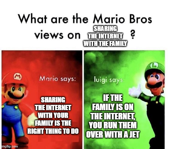 Bad Internet with the family |  SHARING THE INTERNET WITH THE FAMILY; SHARING THE INTERNET WITH YOUR FAMILY IS THE RIGHT THING TO DO; IF THE FAMILY IS ON THE INTERNET, YOU RUN THEM OVER WITH A JET | image tagged in mario bros views | made w/ Imgflip meme maker
