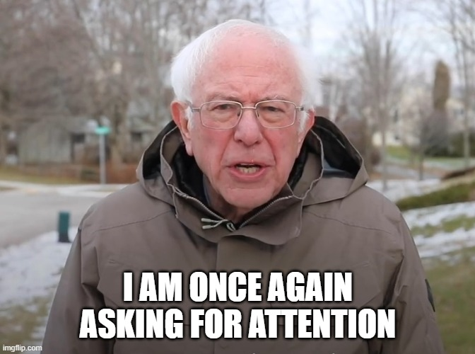 Me , a needy sub |  I AM ONCE AGAIN ASKING FOR ATTENTION | image tagged in bernie sanders once again asking | made w/ Imgflip meme maker