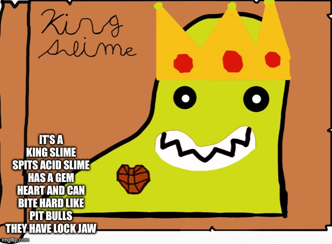 IT'S A KING SLIME SPITS ACID SLIME HAS A GEM HEART AND CAN BITE HARD LIKE PIT BULLS THEY HAVE LOCK JAW | made w/ Imgflip meme maker