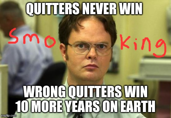 Dwight Schrute Meme |  QUITTERS NEVER WIN; WRONG QUITTERS WIN 10 MORE YEARS ON EARTH | image tagged in memes,dwight schrute | made w/ Imgflip meme maker