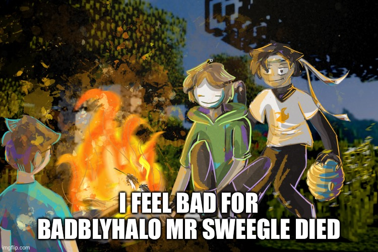 Sad |  I FEEL BAD FOR BADBLYHALO MR SWEEGLE DIED | image tagged in sapnap face | made w/ Imgflip meme maker