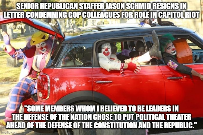 "politics, republican, resignation, trump, insurrection, congress, senate |  SENIOR REPUBLICAN STAFFER JASON SCHMID RESIGNS IN LETTER CONDEMNING GOP COLLEAGUES FOR ROLE IN CAPITOL RIOT; ""SOME MEMBERS WHOM I BELIEVED TO BE LEADERS IN THE DEFENSE OF THE NATION CHOSE TO PUT POLITICAL THEATER AHEAD OF THE DEFENSE OF THE CONSTITUTION AND THE REPUBLIC."" 