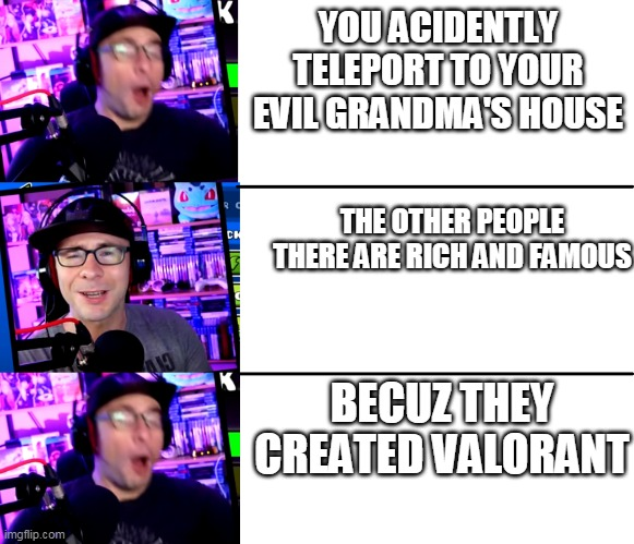 do u like my new template? |  YOU ACIDENTLY TELEPORT TO YOUR EVIL GRANDMA'S HOUSE; THE OTHER PEOPLE THERE ARE RICH AND FAMOUS; BECUZ THEY CREATED VALORANT | image tagged in ericvanwilderman panik kalm | made w/ Imgflip meme maker