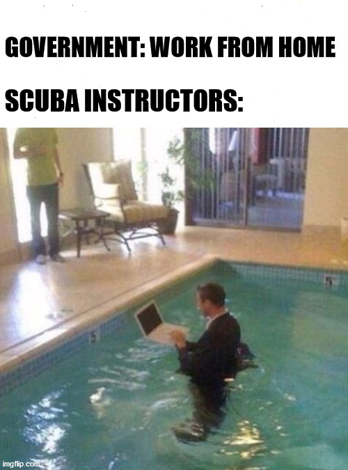 Scuba |  GOVERNMENT: WORK FROM HOME; SCUBA INSTRUCTORS: | image tagged in scuba diving,quarantine,lockdown,government shutdown,government,2020 | made w/ Imgflip meme maker