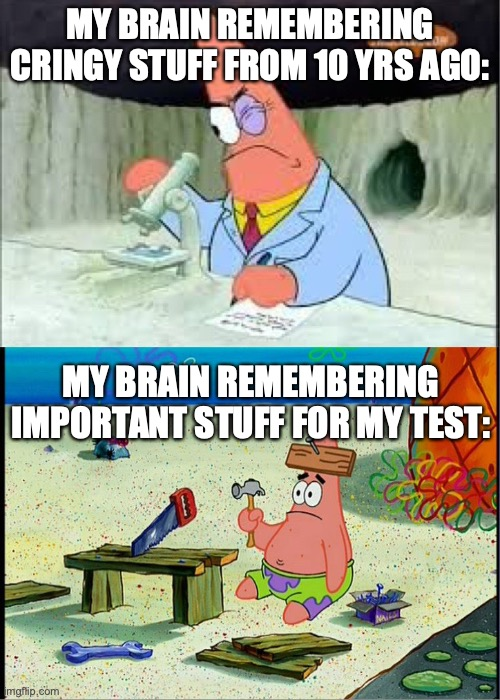 How memory works |  MY BRAIN REMEMBERING CRINGY STUFF FROM 10 YRS AGO:; MY BRAIN REMEMBERING IMPORTANT STUFF FOR MY TEST: | image tagged in patrick smart dumb,brain,remember,memory,school,test | made w/ Imgflip meme maker
