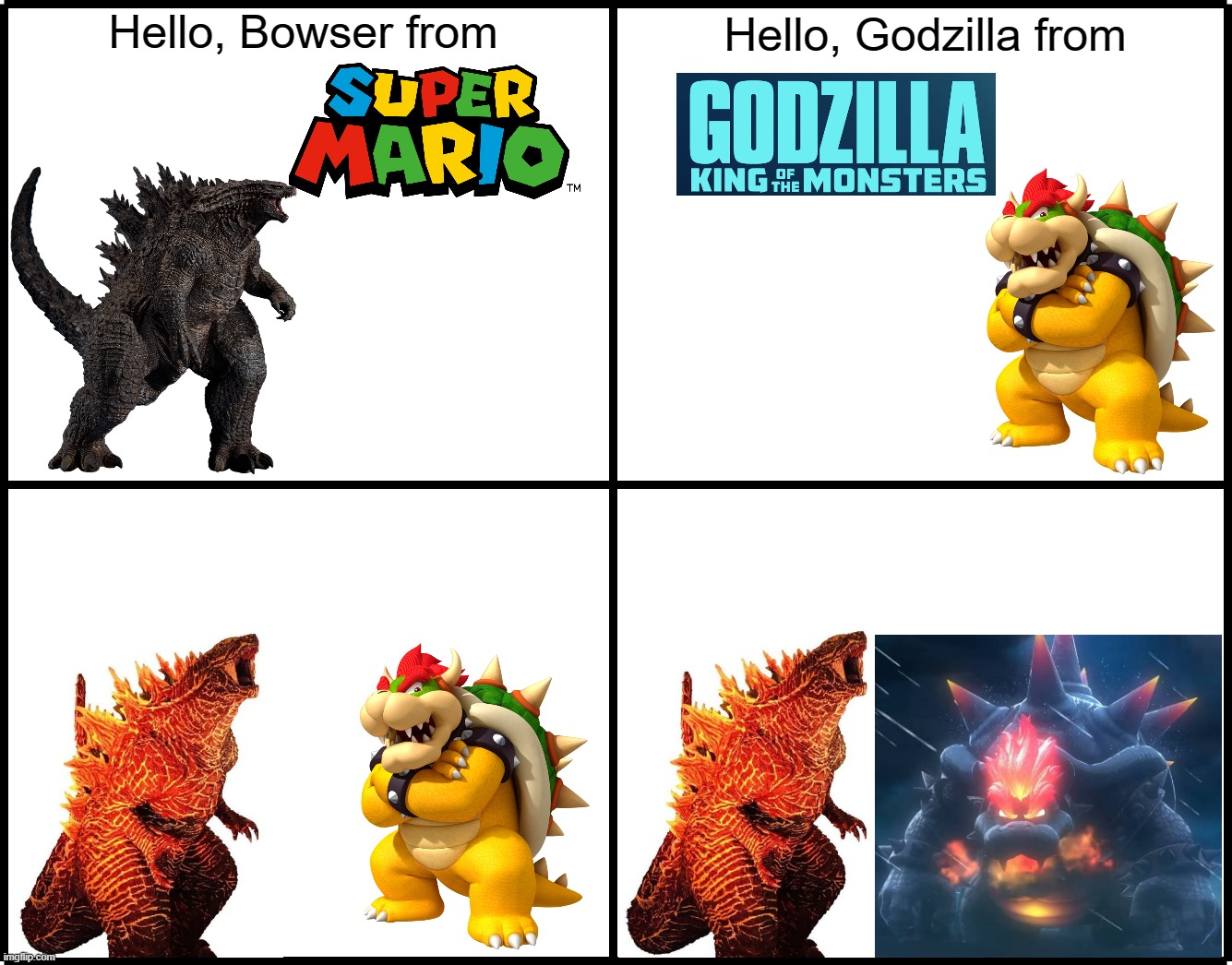 Hello, Bowser from; Hello, Godzilla from | image tagged in super mario 3d world,bowser's fury,godzilla,bowser,hey,hello | made w/ Imgflip meme maker
