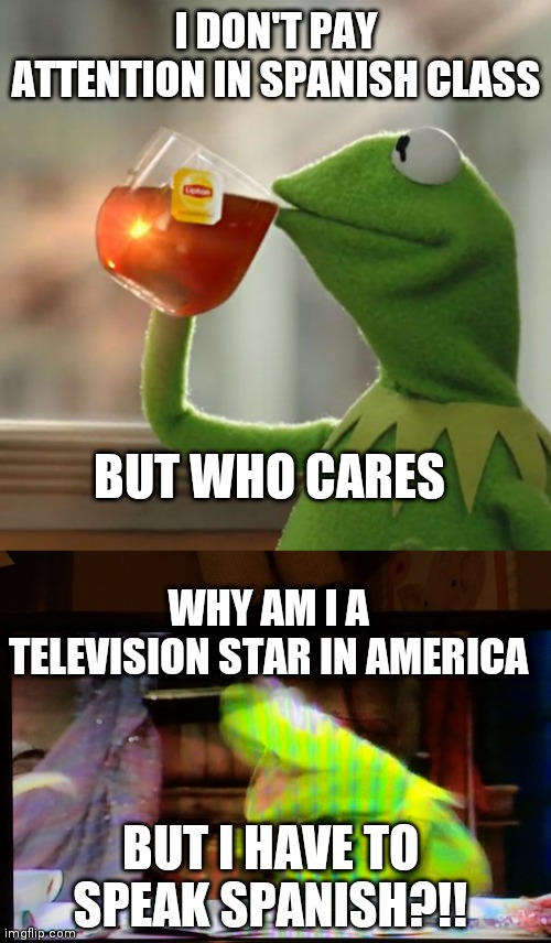 Haha! You got bamboozled |  I DON'T PAY ATTENTION IN SPANISH CLASS; BUT WHO CARES; WHY AM I A TELEVISION STAR IN AMERICA; BUT I HAVE TO SPEAK SPANISH?!! | image tagged in memes,but that's none of my business,triggered kermit | made w/ Imgflip meme maker