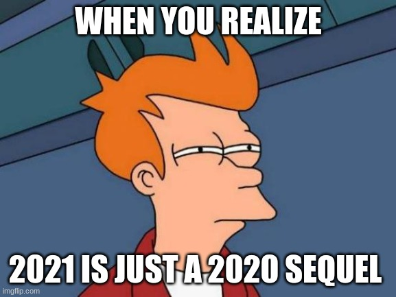 Futurama Fry Meme |  WHEN YOU REALIZE; 2021 IS JUST A 2020 SEQUEL | image tagged in memes,futurama fry | made w/ Imgflip meme maker