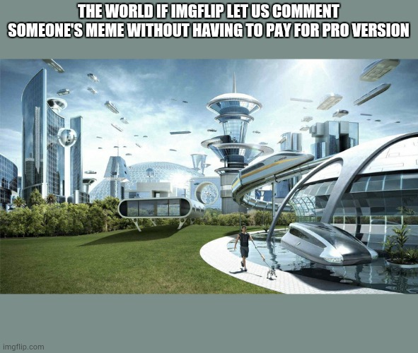 imgflip i beg you |  THE WORLD IF IMGFLIP LET US COMMENT SOMEONE'S MEME WITHOUT HAVING TO PAY FOR PRO VERSION | image tagged in the future world if | made w/ Imgflip meme maker