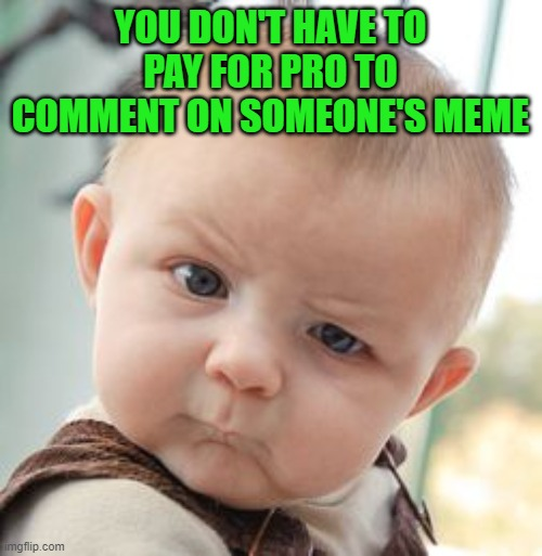 Skeptical Baby Meme | YOU DON'T HAVE TO PAY FOR PRO TO COMMENT ON SOMEONE'S MEME | image tagged in memes,skeptical baby | made w/ Imgflip meme maker