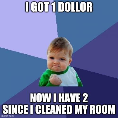 Money |  I GOT 1 DOLLOR; NOW I HAVE 2 SINCE I CLEANED MY ROOM | image tagged in memes,success kid | made w/ Imgflip meme maker