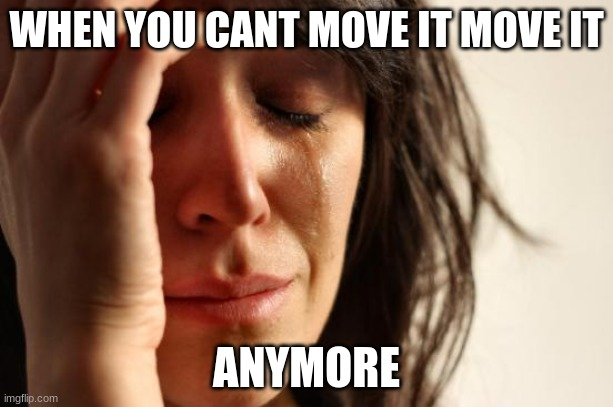 First World Problems Meme |  WHEN YOU CANT MOVE IT MOVE IT; ANYMORE | image tagged in memes,first world problems | made w/ Imgflip meme maker