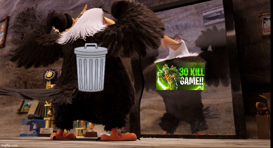 Nothing to see here, just trash | image tagged in mighty eagle angry birds | made w/ Imgflip meme maker