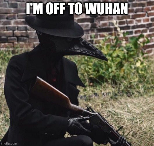 There's a plague to be cured. |  I'M OFF TO WUHAN | image tagged in plague doctor with gun | made w/ Imgflip meme maker
