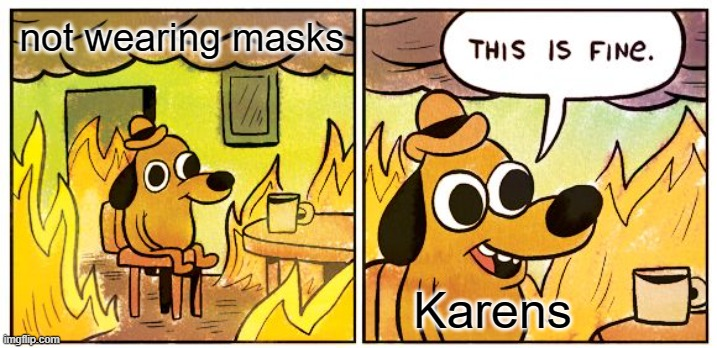 This Is Fine Meme |  not wearing masks; Karens | image tagged in memes,this is fine | made w/ Imgflip meme maker