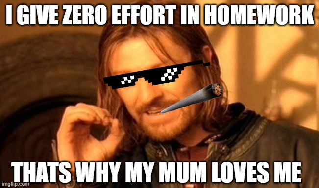 my effort |  I GIVE ZERO EFFORT IN HOMEWORK; THATS WHY MY MUM LOVES ME | image tagged in memes,one does not simply | made w/ Imgflip meme maker