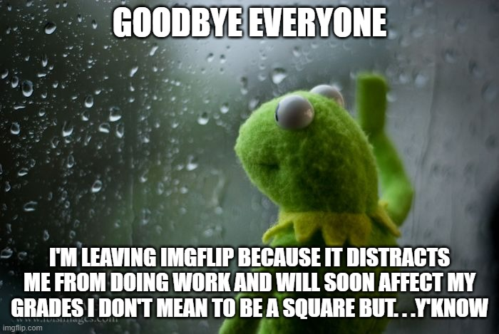 I'm probably addicted to imgflip |  GOODBYE EVERYONE; I'M LEAVING IMGFLIP BECAUSE IT DISTRACTS ME FROM DOING WORK AND WILL SOON AFFECT MY GRADES I DON'T MEAN TO BE A SQUARE BUT. . .Y'KNOW | image tagged in kermit window,goodbye,leaving,sad,whyyy,stop reading the tags | made w/ Imgflip meme maker