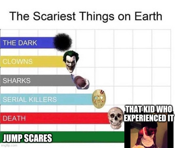scariest things in the world |  THAT KID WHO EXPERIENCED IT; JUMP SCARES | image tagged in scariest things in the world | made w/ Imgflip meme maker
