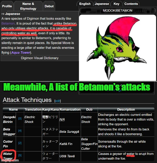 ModokiBetamon's official profile is full of crap |  Meanwhile, A list of Betamon's attacks | image tagged in digimon,betamon,modokibetamon,video games,anime,gaming | made w/ Imgflip meme maker