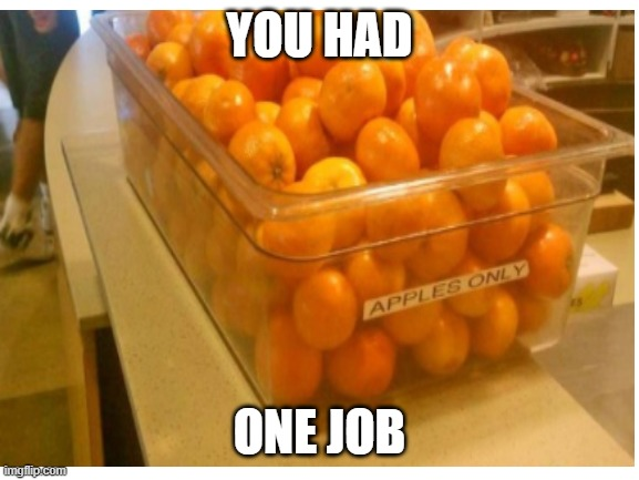 oranges |  YOU HAD; ONE JOB | image tagged in you had one job | made w/ Imgflip meme maker