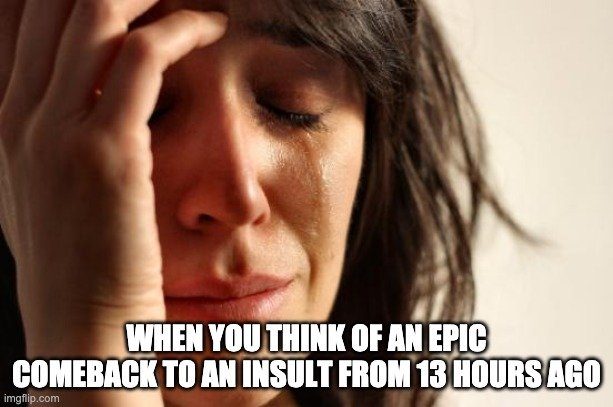 happened to me earlier lmao |  WHEN YOU THINK OF AN EPIC COMEBACK TO AN INSULT FROM 13 HOURS AGO | image tagged in memes,first world problems | made w/ Imgflip meme maker