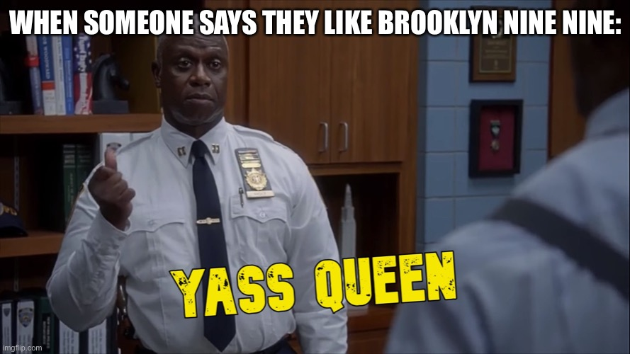 NINE NINE! |  WHEN SOMEONE SAYS THEY LIKE BROOKLYN NINE NINE: | image tagged in holt yass queen,holt,captain holt,ray holt | made w/ Imgflip meme maker