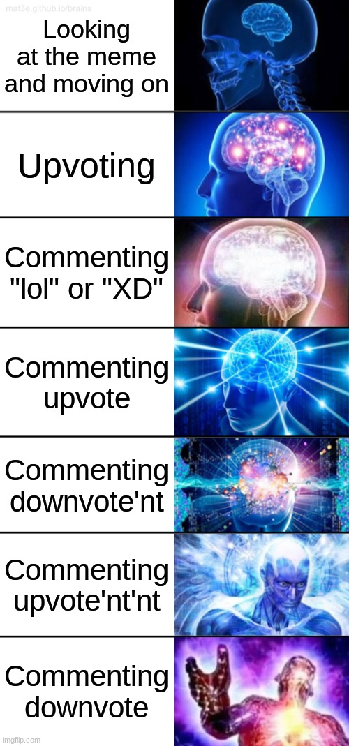 "Lets start doing this more often |  Looking at the meme and moving on; Upvoting; Commenting ""lol"" or ""XD""; Commenting upvote; Commenting downvote'nt; Commenting upvote'nt'nt; Commenting downvote 