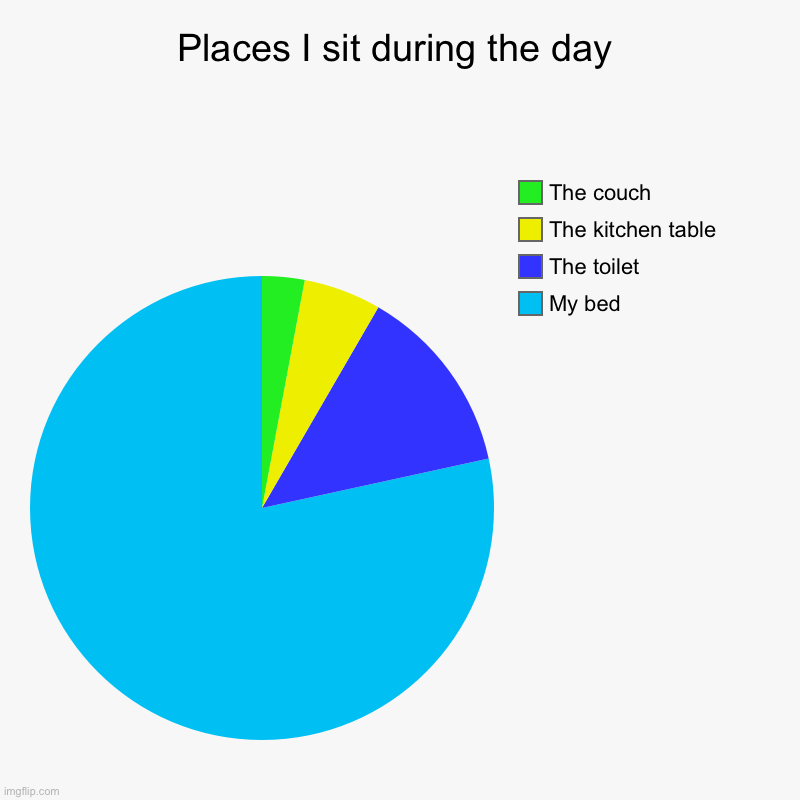 Places I sit during the day | My bed, The toilet, The kitchen table , The couch | image tagged in charts,pie charts | made w/ Imgflip chart maker