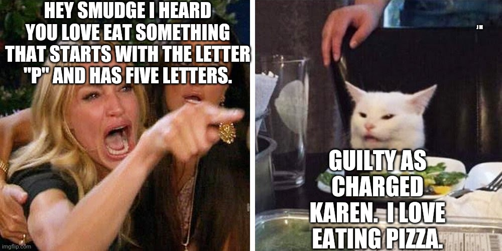 "Smudge the cat |  HEY SMUDGE I HEARD YOU LOVE EAT SOMETHING THAT STARTS WITH THE LETTER ""P"" AND HAS FIVE LETTERS. J M; GUILTY AS CHARGED KAREN.  I LOVE EATING PIZZA. 