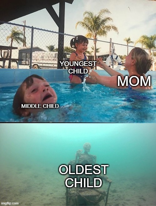 Mother Ignoring Kid Drowning In A Pool |  YOUNGEST CHILD; MOM; MIDDLE CHILD; OLDEST CHILD | image tagged in mother ignoring kid drowning in a pool | made w/ Imgflip meme maker