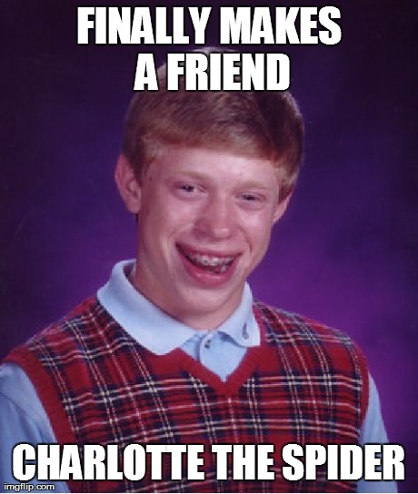 Bad Luck Brian Meme | FINALLY MAKES A FRIEND CHARLOTTE THE SPIDER | image tagged in memes,bad luck brian | made w/ Imgflip meme maker