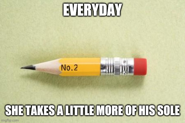 short pencil | EVERYDAY SHE TAKES A LITTLE MORE OF HIS SOLE | image tagged in short pencil | made w/ Imgflip meme maker