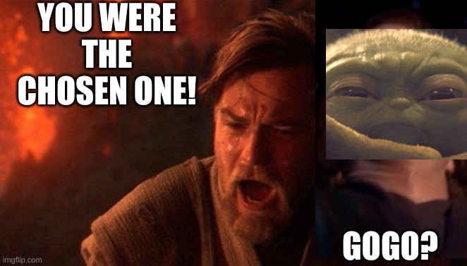 grogu is the chosen one |  YOU WERE THE CHOSEN ONE! GOGO? | image tagged in memes,you were the chosen one star wars | made w/ Imgflip meme maker