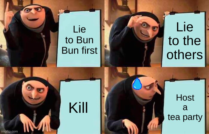 Plan that makes no sense... |  Lie to Bun Bun first; Lie to the others; Kill; Host a tea party | image tagged in memes,gru's plan | made w/ Imgflip meme maker
