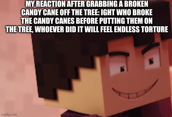 MY REACTION AFTER GRABBING A BROKEN CANDY CANE OFF THE TREE: IGHT WHO BROKE THE CANDY CANES BEFORE PUTTING THEM ON THE TREE, WHOEVER DID IT WILL FEEL ENDLESS TORTURE | image tagged in oh wow are you actually reading these tags,stop it,i told you,its time to stop | made w/ Imgflip meme maker