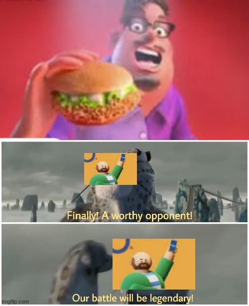 Yes, a worthy opponent for the Kroger Ad! Their battle will be legendary!!i!!ii | image tagged in our battle will be legendary,kroger ad,grubhub ad | made w/ Imgflip meme maker