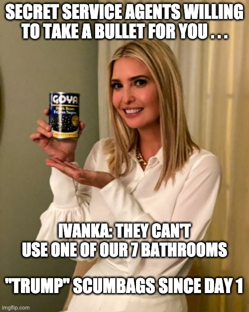"Absolutely despicable . . . |  SECRET SERVICE AGENTS WILLING TO TAKE A BULLET FOR YOU . . . IVANKA: THEY CAN'T USE ONE OF OUR 7 BATHROOMS; ""TRUMP"" SCUMBAGS SINCE DAY 1 