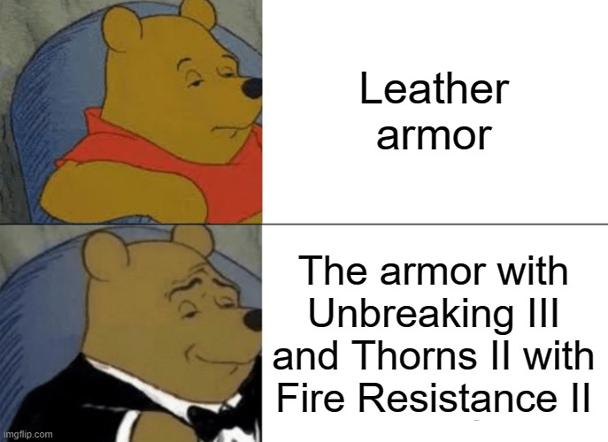 Tuxedo Winnie The Pooh |  Leather armor; The armor with Unbreaking III and Thorns II with Fire Resistance II | image tagged in memes,tuxedo winnie the pooh | made w/ Imgflip meme maker